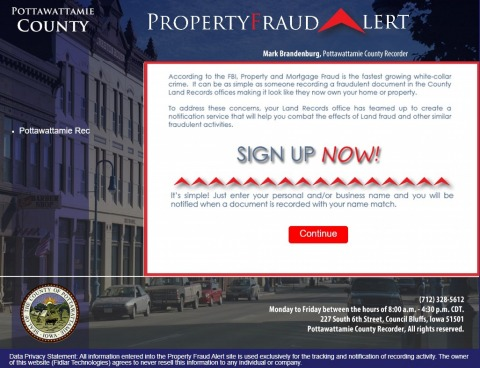 Screenshot of Property Fraud Alert website